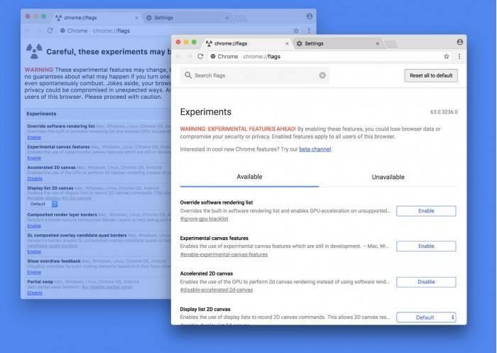ae2e1de2cef9a07 Google重新设计了Chrome://flags页面 Chrome