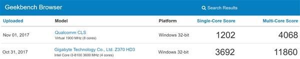 4a1ba6cb43c8d7d 骁龙835 Windows 10 电脑密集现身跑分:运行exe Windows 10
