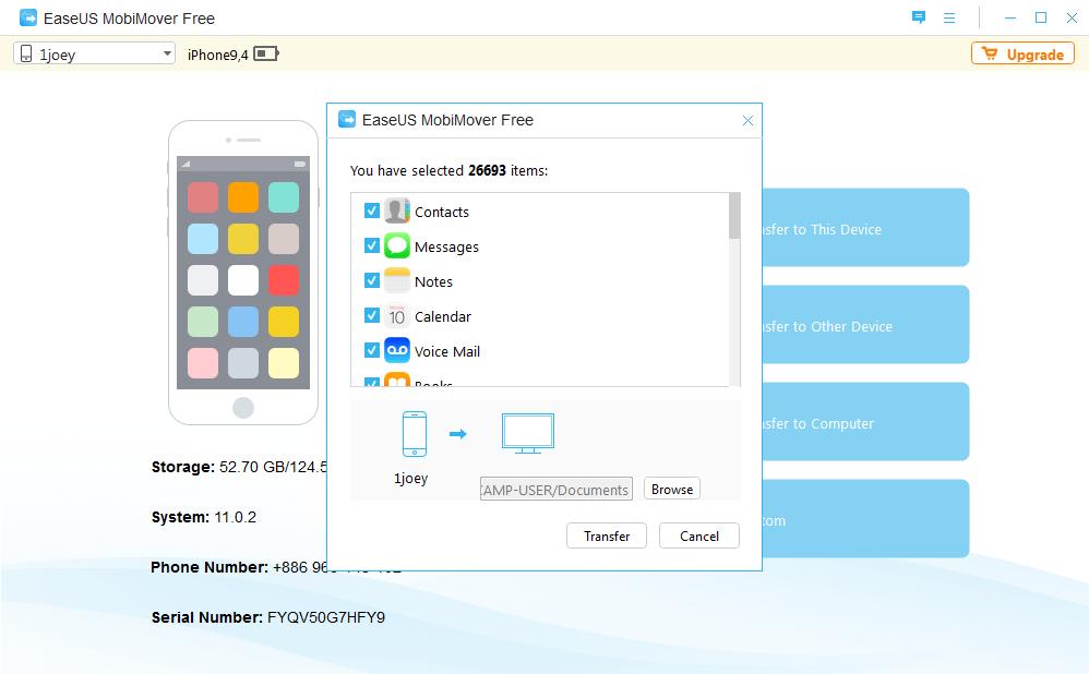 Image 2 EaseUS MoviMover Free   免 Tunes 备份 iPhone 数据工具