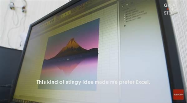 4b21b14b38ec5d3 77岁老人用Excel做出了许多令人称赞的画作 Excel