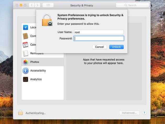 738899c8d9f4486 macOS High Sierra 10.13.2 beta 6 修复Root登陆漏洞 macOS