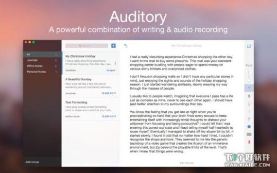 800x500bb 8 570x356 [限时免费] Auditory   Mac华丽笔记软件,支持录音功能 限时免费 笔记软件 Mac限时免费 MAC Auditory