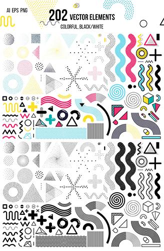 272 patterns elements MEMPHIS set2 [PNG]+[AI] 272张超好看背景抽象素材图 背景图 抽象素材 VIP专享 PNG EPS AI素材 AI
