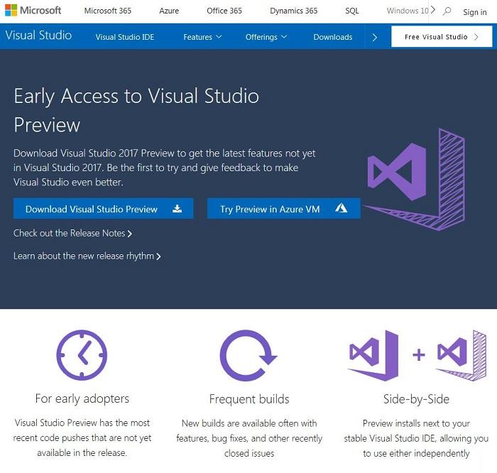5934aebd9670a4e Visual Studio 2017 15.7 Preview 2 发布下载地址 Visual Studio