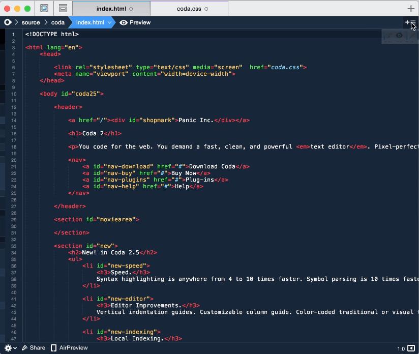 Coda Coda 2.6.10   Mac轻巧的网页前端开发工具,并且功能强大 网页 前端 MAC Coda