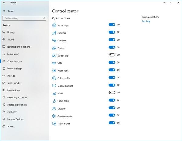 a561100786581cc Windows 10 RS5 操作中心增加快捷操作的按钮 Windows 10