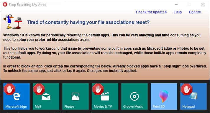 app gui Stop Resetting My Apps   阻止 Windows 10 系统更新重置Edge浏览器 Windows 10 Stop Resetting My Apps Edge