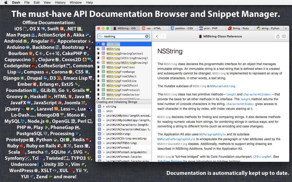 Dash 4.4   Mac软件编程文档管理工具 编程 MAC Dash
