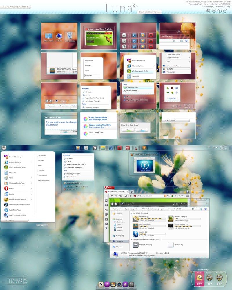luna by minhtrimatrix Windows 7 精选主题包【珍藏版】+ 美化工具 + 教程 Windows 7美化 Windows 7主题 VIP专享