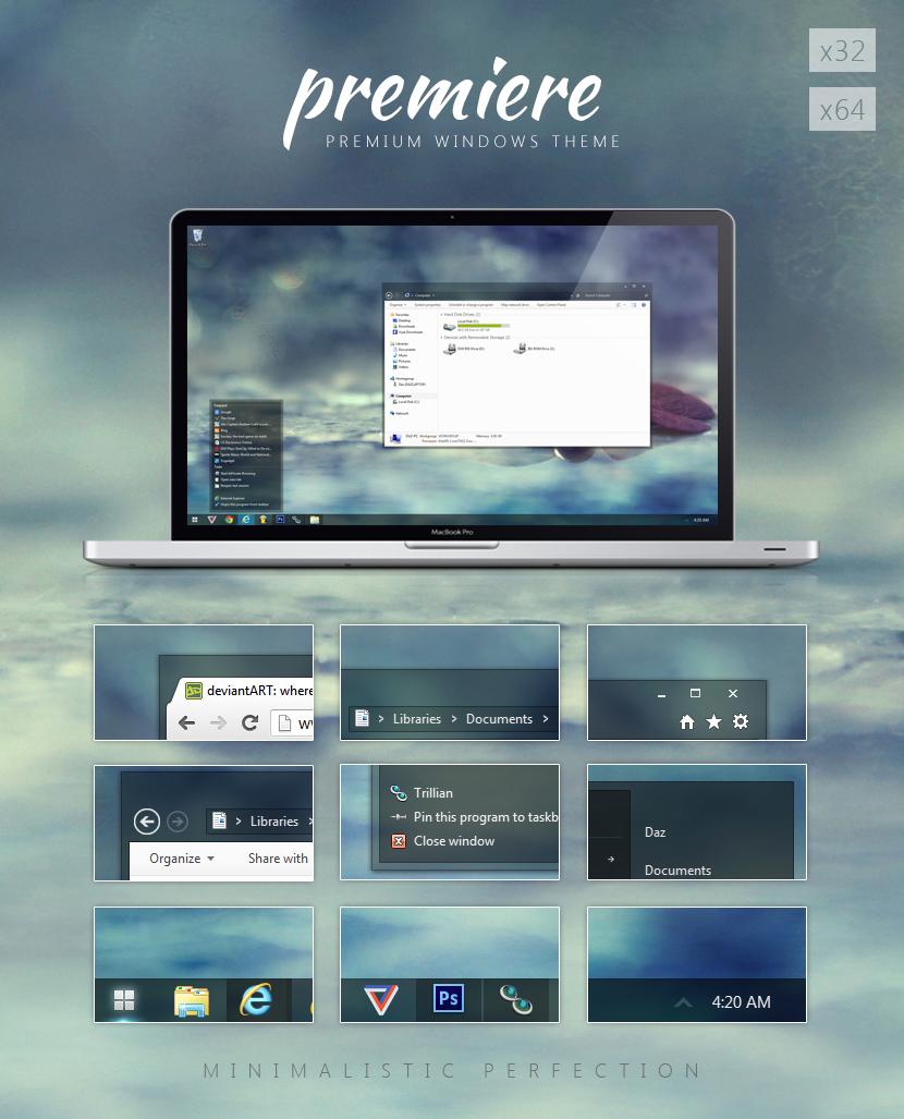 premiere Windows 7 精选主题包【珍藏版】+ 美化工具 + 教程 Windows 7美化 Windows 7主题 VIP专享