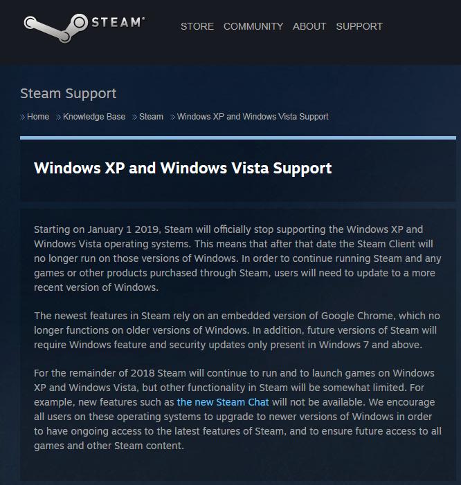 e9f0dcd25efb73e Steam 将停止支持 Windows XP 和 Vista Steam