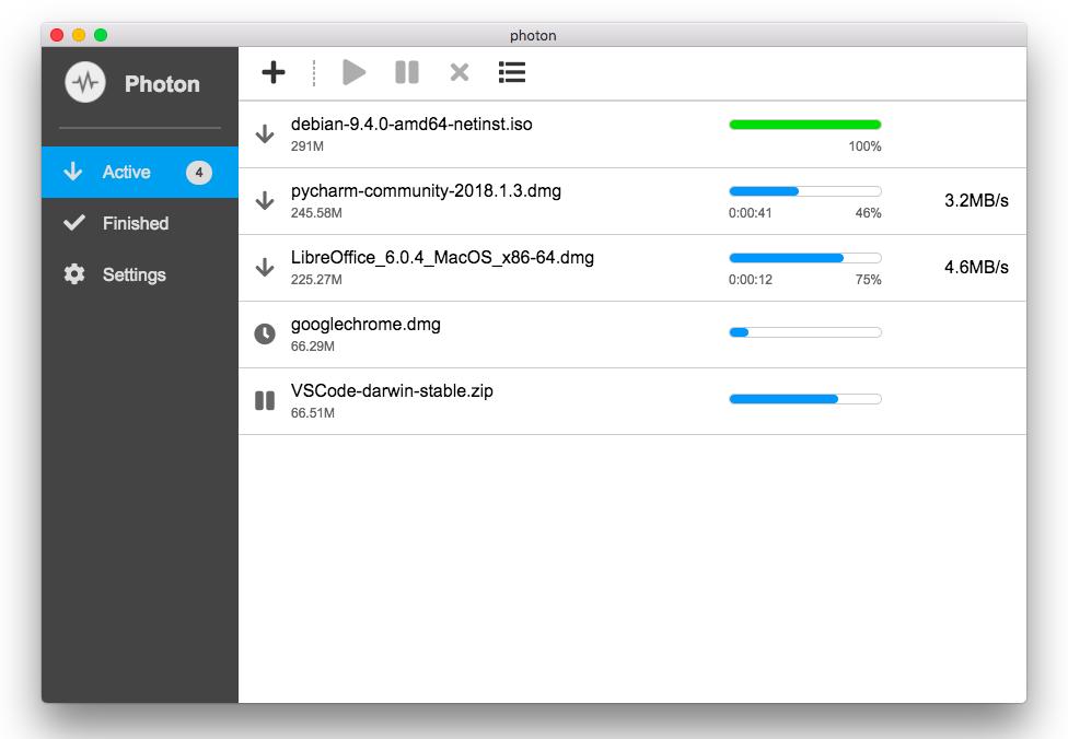 mac Photon   基于 aria2 的下载工具,支持Win/Mac