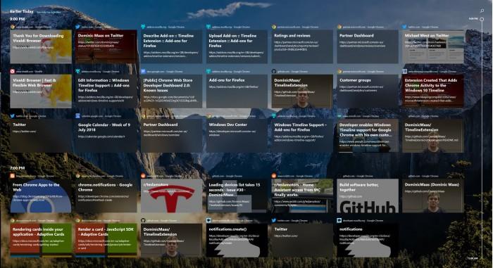 ce37ec91d774050 Windows 10 时间轴 支持 Chrome 和 Firefox Windows 10