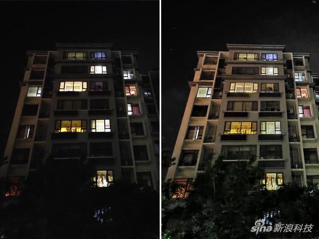 夜间样张,右边为夜景模式