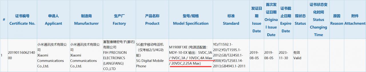 小米5G旗舰入网:45W超级快充加持 热点资讯 第1张
