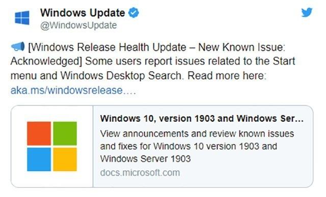 Windows 10更新误删开始主菜单 微软:正在调查 热点资讯 第1张